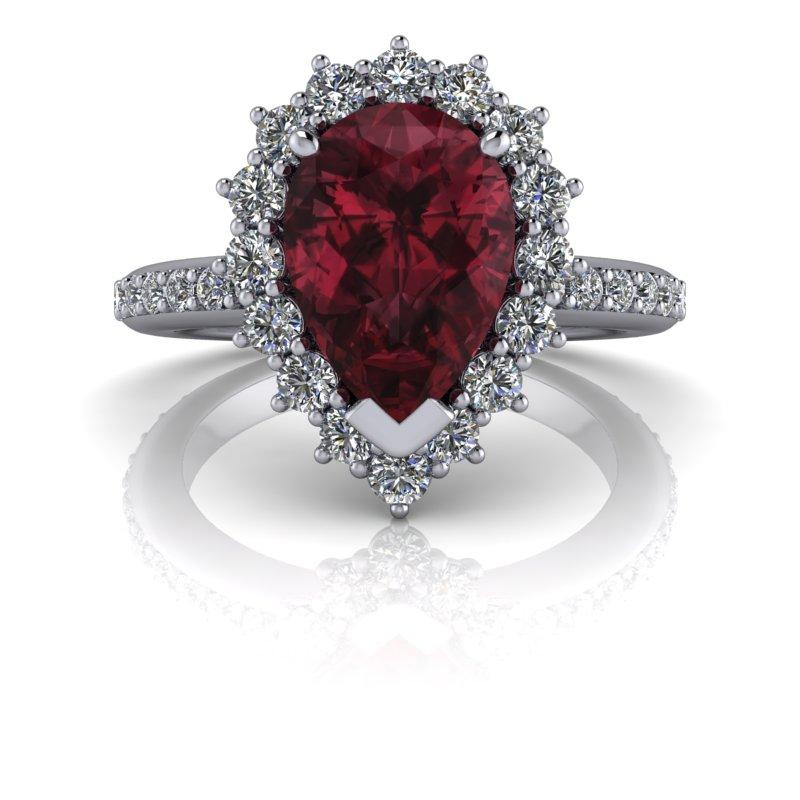 3.12 CTW Lab Grown Diamond Engagement Ring Garnet Rhodolite Ring-Bel Viaggio Designs