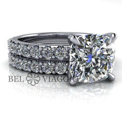 3.14 CTW Cushion Cut Colorless Moissanite Bridal Set-BVD