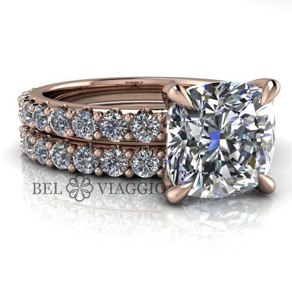 3.14 CTW Cushion Cut Colorless Moissanite Bridal Set-Bel Viaggio Designs