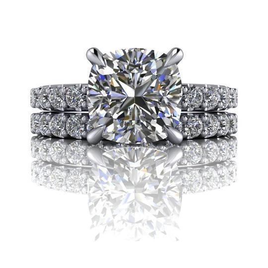 3.14 CTW Cushion Cut Colorless Moissanite Bridal Set-Bel Viaggio Designs, LLC