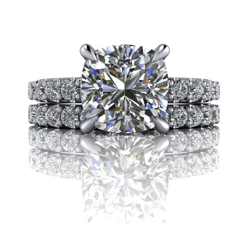 3.14 CTW Cushion Cut Forever One Moissanite Bridal Set-Bel Viaggio Designs