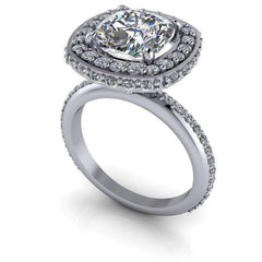 3.15 CTW Cushion Cut Forever One Moissanite Ring, Diamond Halo Engagement Ring-BVD