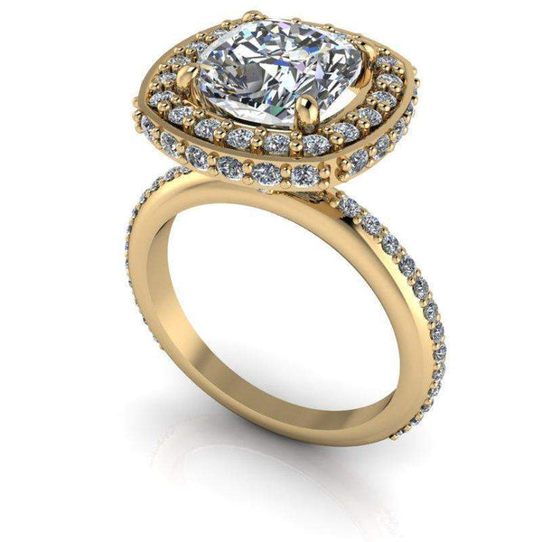 3.15 CTW Cushion Cut Moissanite and Diamond Halo Engagement Ring-Bel Viaggio Designs