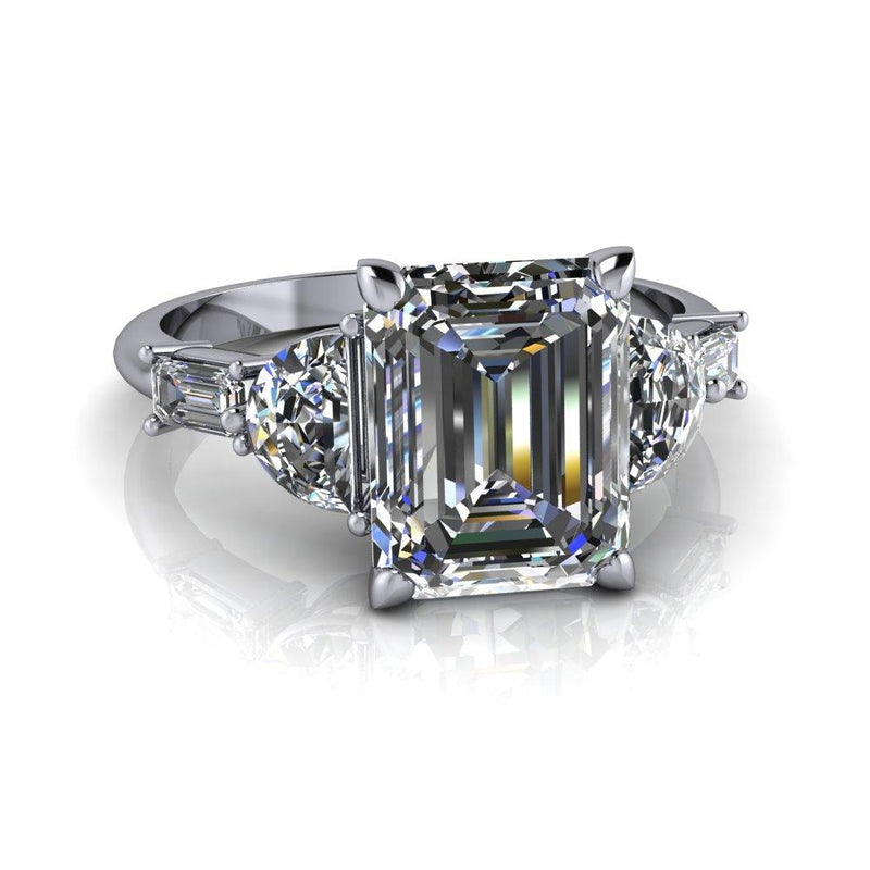 3.16 CTW Emerald Cut Forever One Moissanite Engagement Ring-Bel Viaggio Designs