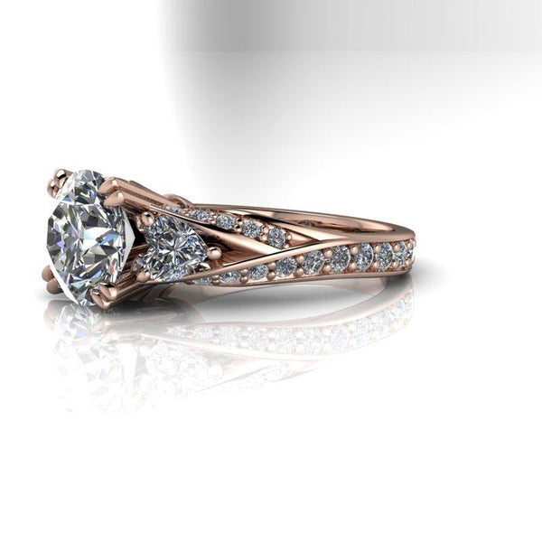 3.17 ctw Hearts & Arrows Round Moissanite Engagement Ring-Bel Viaggio Designs