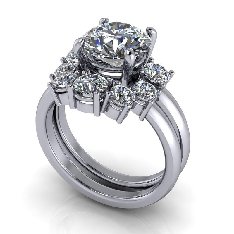 3.17 ctw Round Charles & Colvard Colorless Moissanite Engagement Ring/Bridal Set-Bel Viaggio Designs
