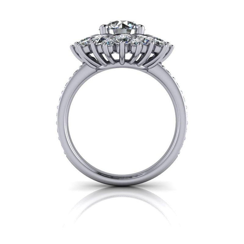 3.18 CTW Colorless Moissanite Halo Cluster Style Engagement Ring-Bel Viaggio Designs