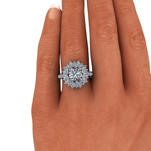 3.18 CTW Forever One Moissanite Halo Cluster Style Engagement Ring-Bel Viaggio Designs