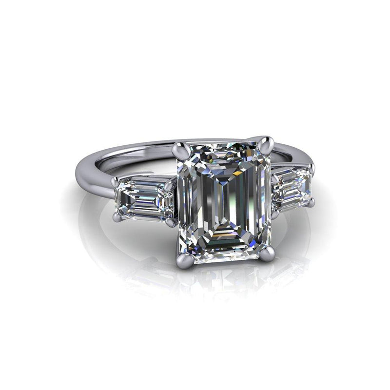 3.20 CTW Emerald Cut Forever One Moissanite Three Stone Engagement Ring-Bel Viaggio Designs