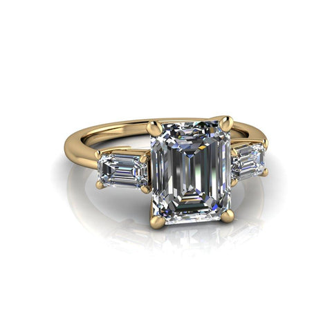 3.20 CTW Emerald Cut Moissanite Three Stone Engagement Ring-BVD