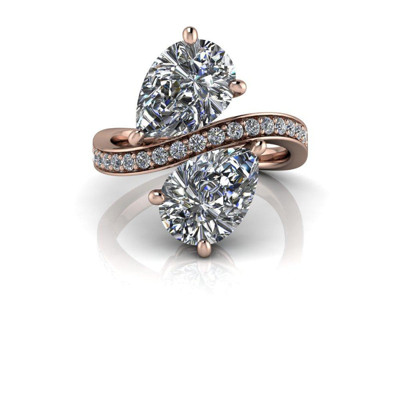 3.20 CTW Pear Shape Forever One Moissanite Two Stone Ring-Bel Viaggio Designs