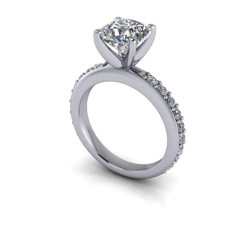3.23 ctw Charles & Colvard Cushion Cut Moissanite Engagement Ring Bridal Set-Bel Viaggio Designs