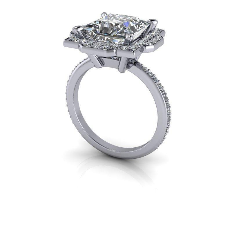 3.23 CTW Forever One Princess Cut Halo Engagement Ring-Bel Viaggio Designs