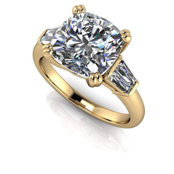 3.24 CTW Forever One Moissanite Cushion Cut Baguette Engagement Ring-Bel Viaggio Designs