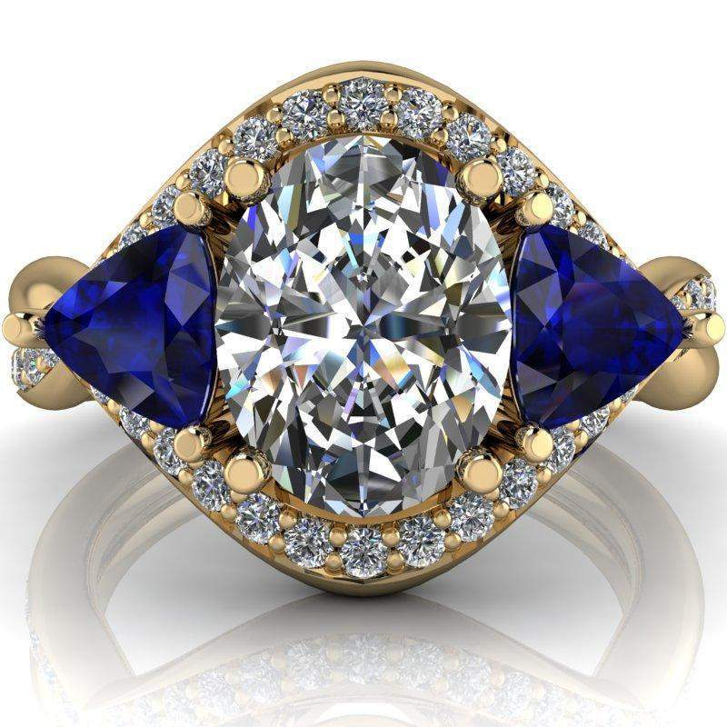 3.24 CTW Oval Forever One Moissanite and Sapphire Three Stone Anniversary Ring-Bel Viaggio Designs