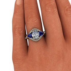 3.24 CTW Oval Forever One Moissanite and Sapphire Three Stone Anniversary Ring-BVD