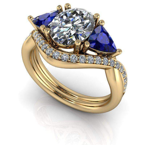 3.24 CTW Sapphire & Oval Colorless Moissanite Three Stone Anniversary Ring-Bel Viaggio Designs