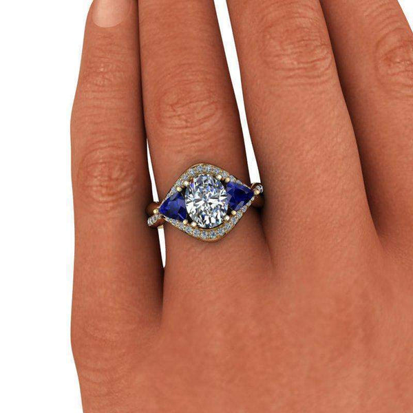 3.24 CTW Sapphire & Oval Colorless Moissanite Three Stone Anniversary Ring-BVD