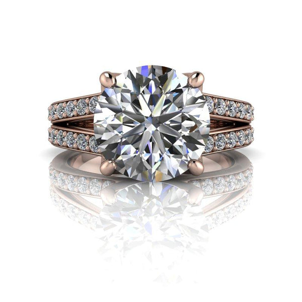 3.25 CTW Contemporary Round Moissanite Engagement Ring-BVD