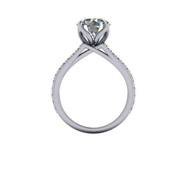 3.25 CTW Contemporary Ring Round Charles & Colvard Moissanite Engagement Ring-Bel Viaggio Designs