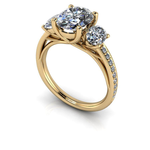 3.25 CTW Oval Moissanite Three Stone Anniversary Ring-Bel Viaggio Designs