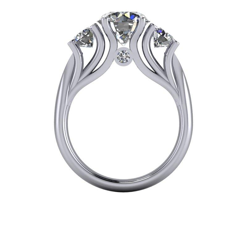 3.26 CTW Three Stone Ring, Round Forever One Moissanite Ring-BVD