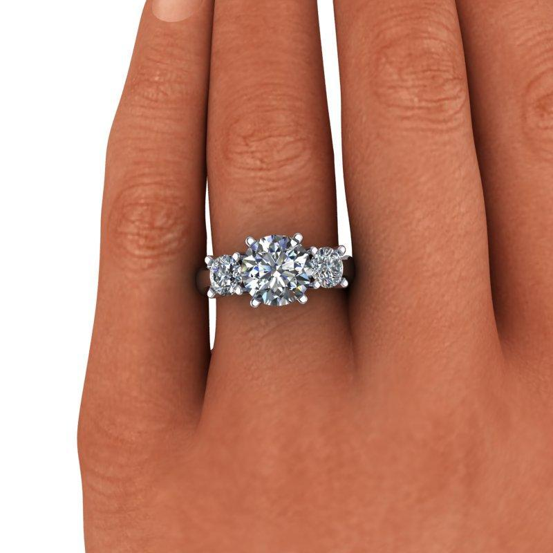 3.26 CTW Three Stone Ring, Round Forever One Moissanite Ring-Bel Viaggio Designs