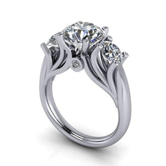 3.26 CTW Three Stone Ring, Round Forever One Moissanite Ring-Bel Viaggio Designs, LLC
