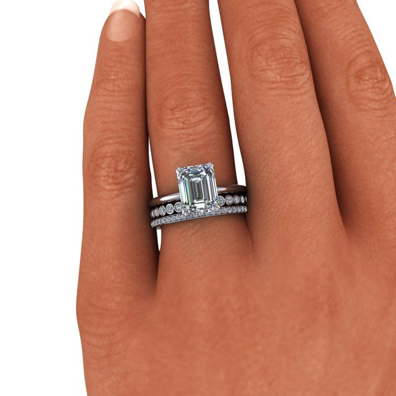 3.27 CTW Emerald Cut Forever One Moissanite Bridal Set, Insieme Bridal Stackables®-Bel Viaggio Designs, LLC