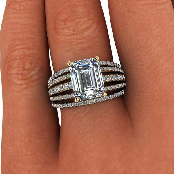 3.27 CTW Forever One Moissanite Emerald Cut Ring, Stacy K Opulence Limited Edition-Bel Viaggio Designs