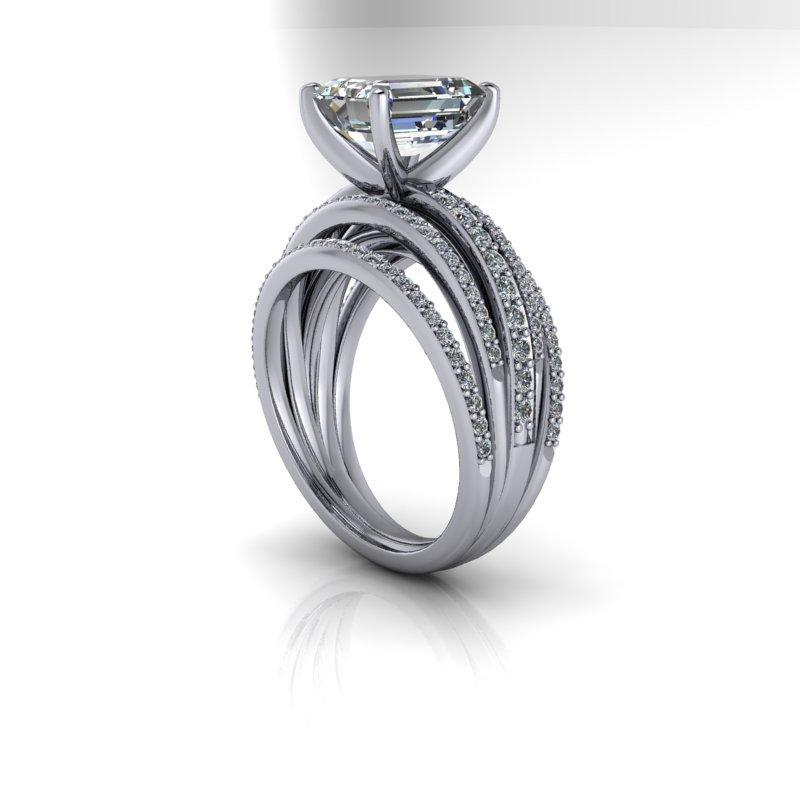 4.10 CTW Forever One Moissanite Emerald Cut Ring-Bel Viaggio Designs