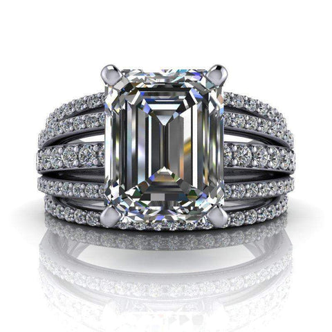 3.27 CTW Forever One Moissanite Emerald Cut Ring, Stacy K Opulence Limited Edition-Bel Viaggio Designs, LLC