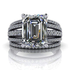 3.27 CTW Forever One Moissanite Emerald Cut Ring, Stacy K Opulence Limited Edition-BVD
