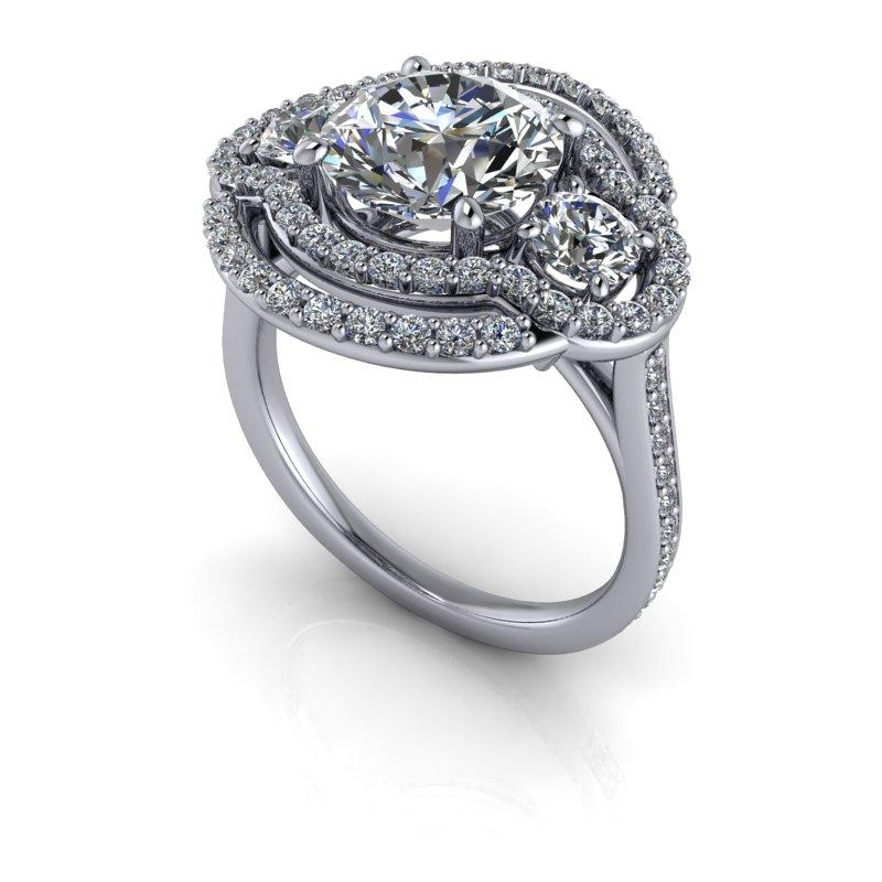 3.27 CTW Round Forever One Moissanite Halo Art Deco Ring-Bel Viaggio Designs