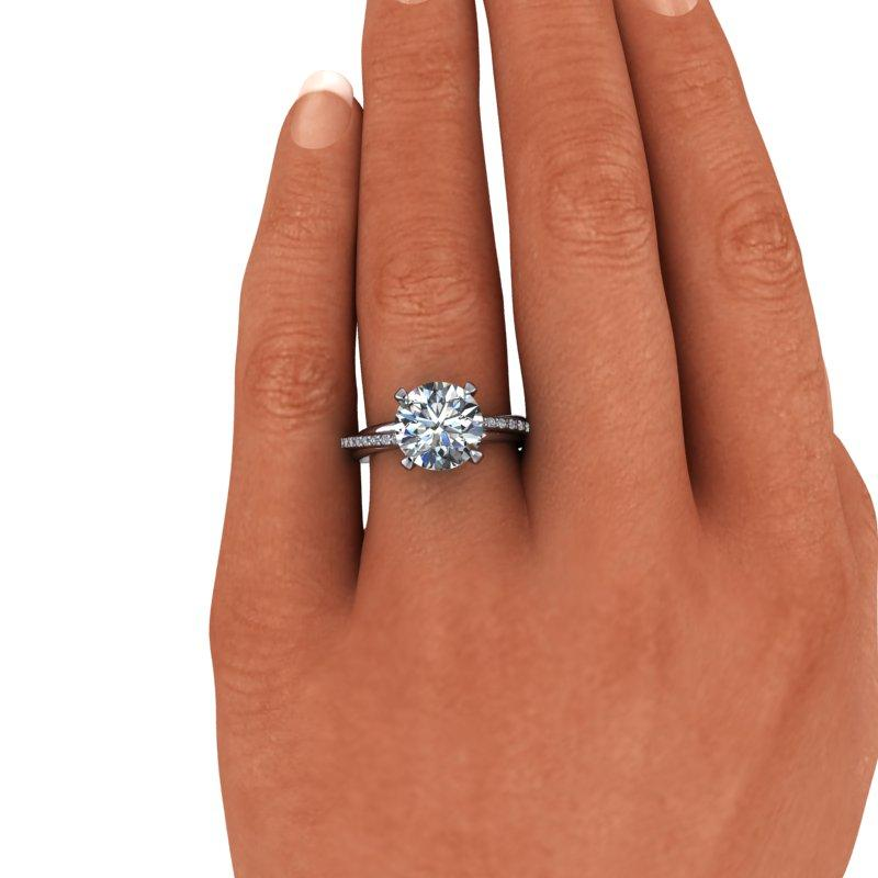 3.27 CTW Round Forever One Moissanite Trinity Twist Engagement Ring-Bel Viaggio Designs, LLC