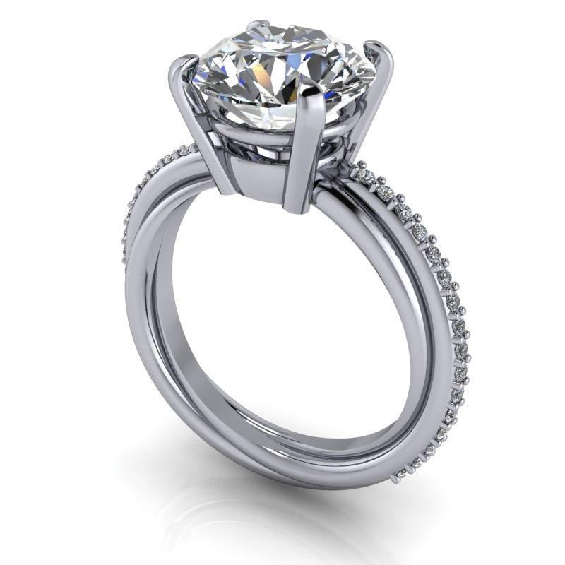 3.27 CTW Round Forever One Moissanite Trinity Twist Engagement Ring-Bel Viaggio Designs