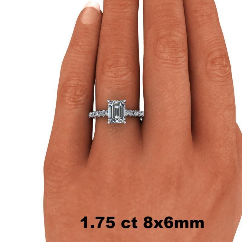 2.29 CTW Emerald Cut Forever One Moissanite Engagement Ring - Center Stone Options-Bel Viaggio Designs