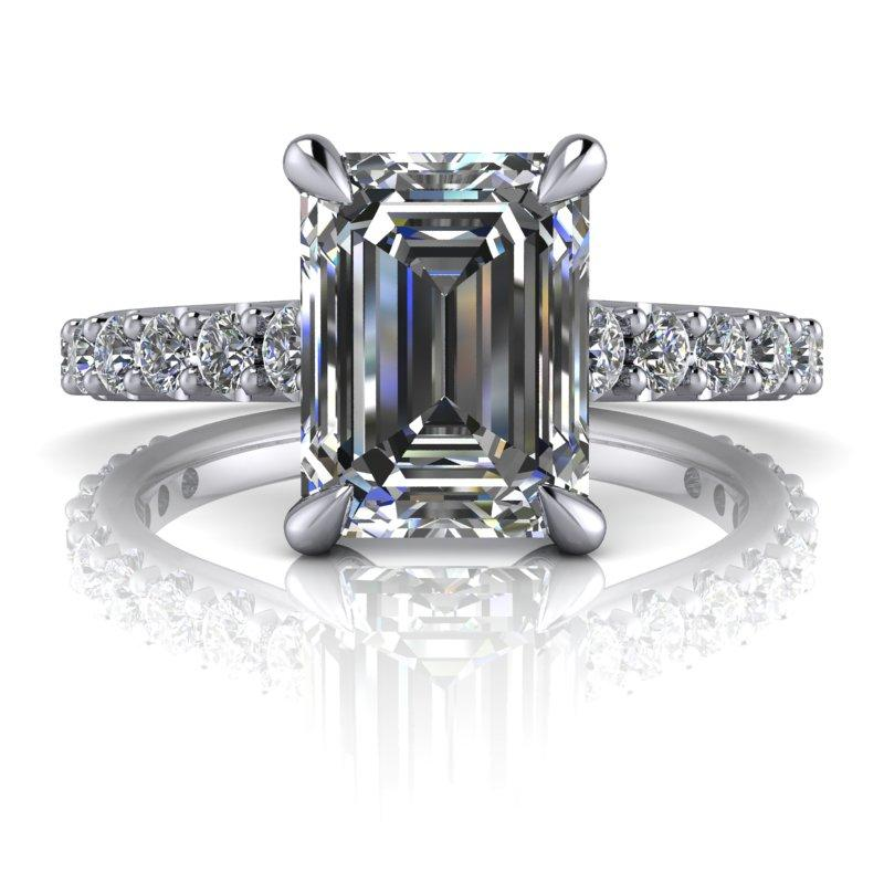 3.29 CTW Emerald Cut Forever One Moissanite Engagement Ring - Center Stone Options-Bel Viaggio Designs, LLC