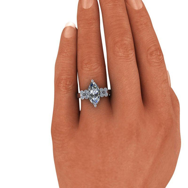 3.30 CTW Marquise Cut Moissanite & Lab Grown Diamond Engagement Ring-Bel Viaggio Designs