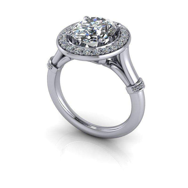 3.30 CTW Oval Colorless Moissanite Halo Engagement Ring-Bel Viaggio Designs