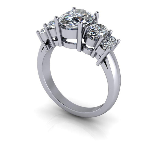 3.34 CTW Oval Moissanite Anniversary Ring, DEF Color-Bel Viaggio Designs