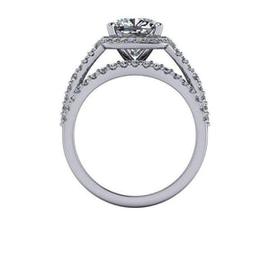 3.36 CTW Moissanite Bridal Set - Cushion Cut Halo Engagement Ring-Bel Viaggio Designs, LLC
