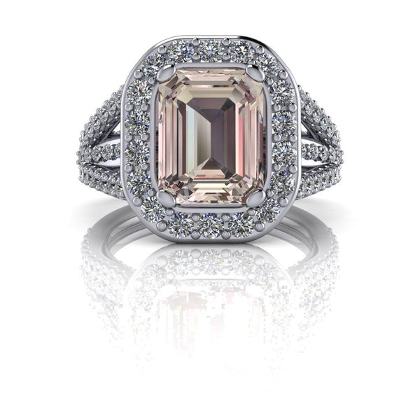 3.37 CTW Emerald Cut Morganite Halo Engagement Ring - Diamond Engagement Ring-Bel Viaggio Designs