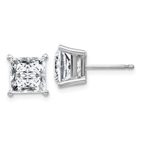 3/4 CTW Princess Cut Moissanite Stud Earrings - 14kt Gold Moissanite 4-Prong Basket Earrings-BVD