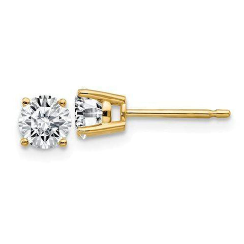 3/4 CTW Stud Earrings - 14kt Gold Round Moissanite 4-Prong Tapered Basket Post Earrings-BVD