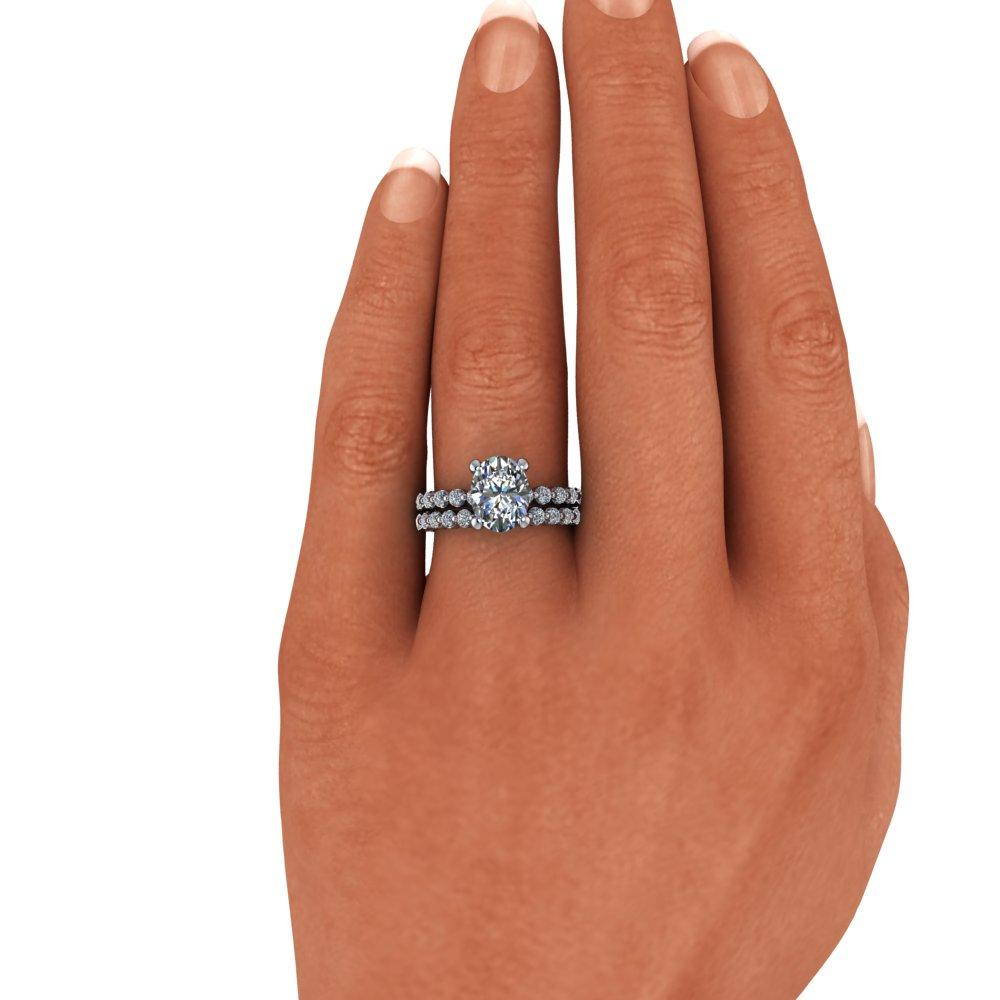 3.40 CTW Oval Charles & Colvard Moissanite Engagement Ring/Bridal Set-Bel Viaggio Designs
