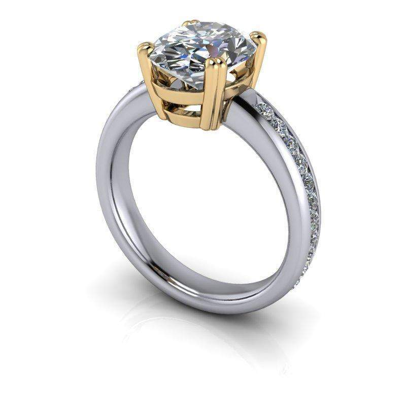 3.40 CTW Oval Forever One Colorless Moissanite Channel Set Engagement Ring-Bel Viaggio Designs
