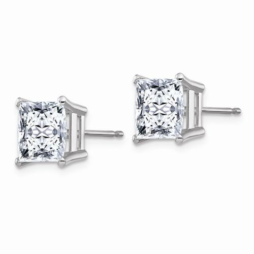 3.40 CTW Princess Cut Moissanite Stud Earrings, DEF Color-Bel Viaggio Designs