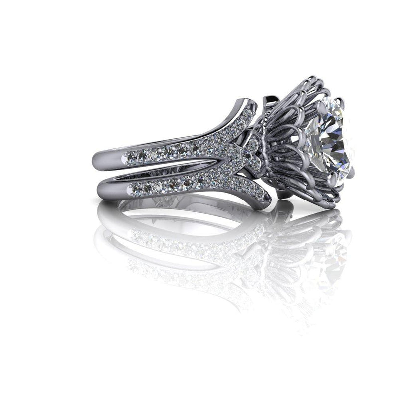 3.42 CTW Moissanite Engagement Or Anniversary Ring Diamond Setting-Bel Viaggio Designs