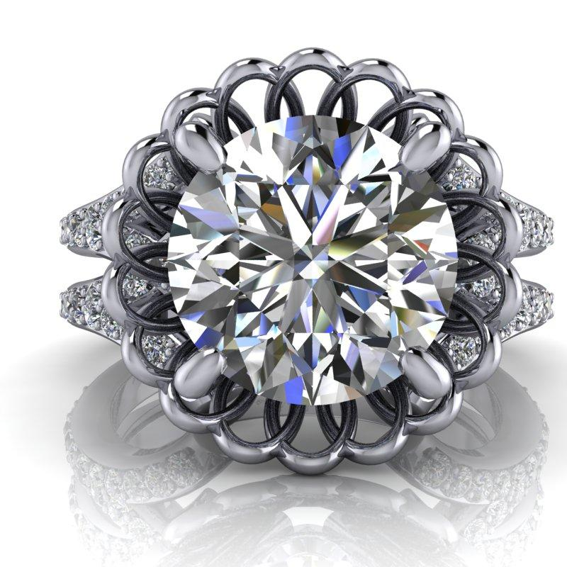 3.42 CTW Moissanite Anniversary Ring, Stacy K Opulence Limited Edition-Bel Viaggio Designs, LLC